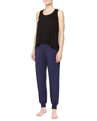 Flowy Lounge Tank & Amp'd Cuffed Drawstring Pants, Black
