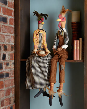 Reginald Rooster & Hermione Hen Decorative Figures