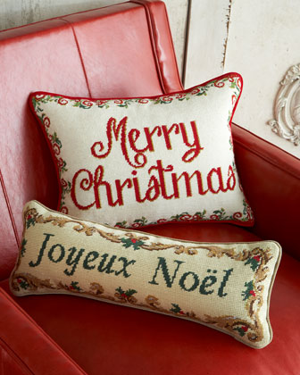 Joyeux Noel Needlepoint Pillow