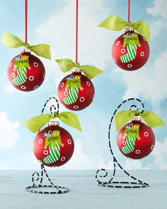 Four Striped Stocking Christmas Ornaments