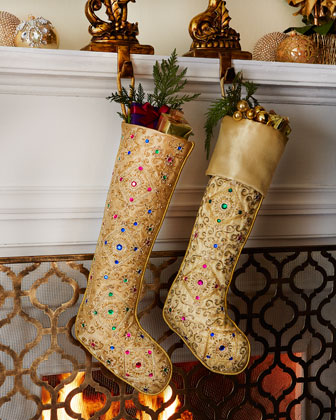 Golden Beaded Christmas Stockings