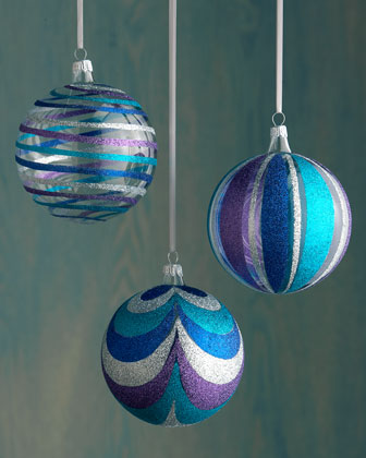 Glitter Ball Christmas Ornaments