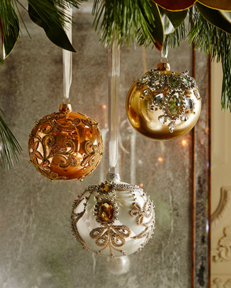 Golden Bejeweled Christmas Ornaments