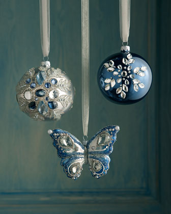Blue Bejeweled Christmas Ornaments