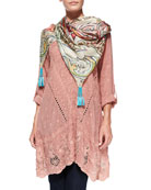 Yen Embroidered V-Neck Tunic & Obsession Printed Silk Georgette Scarf