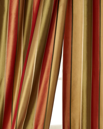 Sutton Striped Silk Taffeta Curtains