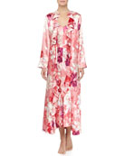 Caliente Floral Print Ruffle Long Gown & Robe, Wild Roses