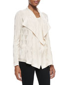 Solid Textured Knit Cardigan with Ruffle Collar & Solid Textured Knit Tank