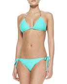 Jade Tie Die Triangle String Bikini Top & Bottom