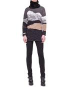 Swiss Alps Jacquard Sweater, Jersey Skinny Pants & Shearling Fur Scarf