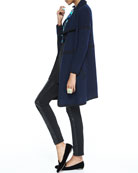 Cashmere Draped Cardigan, Silk Jersey Long-Sleeve Tunic & Ponte Leather-Blocked Leggings