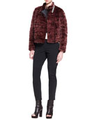 Monili-Collar Striped Mink Fur Jacket, Sleeveless Cropped Knit Pullover, Long-Sleeve Silk Shoulder-Detail Top & Swarovski® Crystal Collar Necklace
