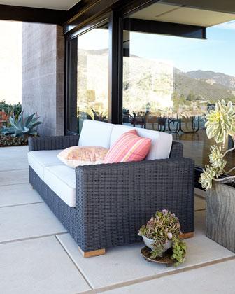 Dawson's Reef Outdoor Wicker Sofa & Cushions