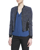 Sandie Cropped Zip-Front Tweed Jacket & Skyler Sleeveless Pleated-Front Blouse