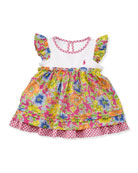 Girls' Floral Checked Combo Dress & Bloomers Set, Pink