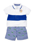 Infant Boys' Single Striped Polo & Schiffli Shorts Set