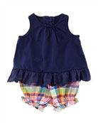 Infant Girls' Enzyme Eyelet Trimmed Tunic & Plaid Bloomers Set, Newport Navy