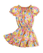 Girls' Floral-Print Dobby Dress