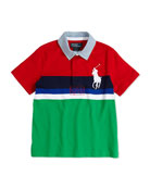 Boys' Rugby-Collar Striped Polo