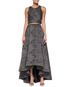 Kesten Sleeveless Jacquard Crop Top & Cohe Shimmery Jacquard A-Line Skirt