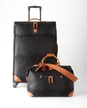Black Crocodile-Embossed Safari Luggage