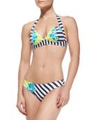 50s Wide-Band Halter Bikini Top & Placement Print Hipster Swim Bottom