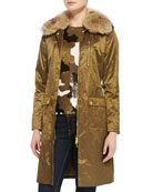 Shiny Fur-Collar Puffer Coat & Camouflage-Pattern Sequined Top