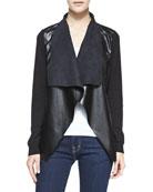 Draped Leather/Jersey Jacket