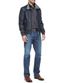 Okayama Reversible Leather/Silk Jacket, Mini-Check Woven Shirt & Stretch-Denim Blue Jeans