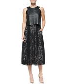 Leather Angular Shell Top & Lace Tea-Length Skirt