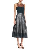 Sleeveless Illusion Bustier Top & Combo Midi-Length Ball Skirt