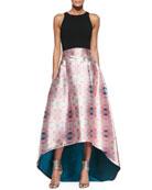 Lexi Sleeveless Crop Top & Avalon Printed High-Low Skirt