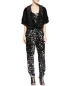 Virginia Faux-Fur Shoulder Wrap & Ava Sequined Strapless Jumpsuit