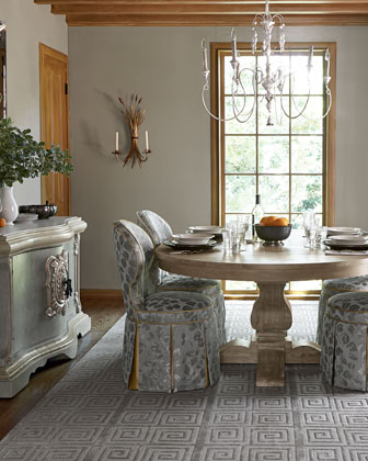 Taylor Pedestal Table & Samantha Garden Dining Chair