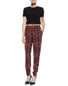 Short-Sleeve Crewneck Crop Top & Printed Pull-On Tapered Pants