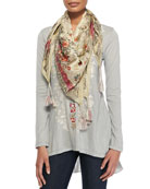 Lena Silk Georgette Scarf & Classic Everly Embroidered Jersey Tee