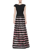 V-Back Cap-Sleeve Top & Floral-Print Striped Ball Skirt