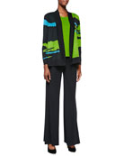 Abstract Pattern Open-Front Jacket, Scoop-Neck Tank & Knit Palazzo Pants, Women's