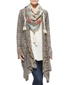 Jace Printed Silk Scarf, Lacy Crochet Jacket &  Vintage Georgette V-Neck Top