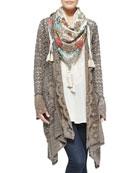 Jace Printed Silk Scarf, Lacy Crochet Jacket &  Vintage Georgette V-Neck Top, Women's