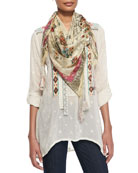 Tribal Patchwork Long-Sleeve Tunic & Lena Silk Georgette Scarf