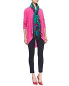Hayden Cashmere Cardigan, Stretch Ponte Travel Ankle Pants & Silk-Cashmere Print Scarf