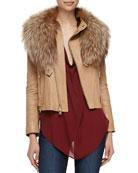 Leather Fur-Collar Jacket & Cowl-Neck Silk Blouse