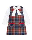 Cotton Bow-Detail Blouse & Plaid A-Line Dress