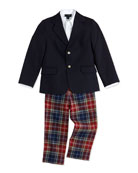 Wool Blazer, Pique Dress Shirt & Plaid Classic Pants