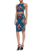 Printed Cropped Racerback Top & Printed High-Waist Pencil Skirt