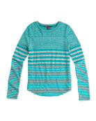 Girls' Striped Shirttail Tee, Blue/Gray