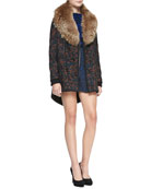 Coyote Fur-Collar Parka, Abstract Printed Mock-Neck Pullover & Scroll-Print Flounce Skirt