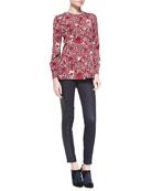 Meg Floral-Print Stretch-Silk Top & Harlow Leather-Side Slim Jeans