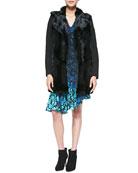 Luscious Rabbit-Fur/Knit Coat & Mystery Asymmetric Floral-Print Dress